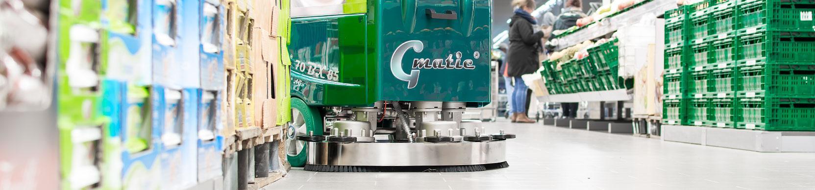 Scheuersaugmaschine Gmatic 80BTXS85 im Supermarkt